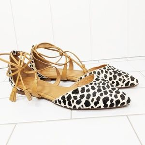 Halogen Giraffe Calf Hair Ankle Wrap Pointed Flats
